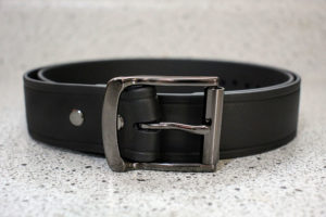 Black Super Belt with Gunmetal Grey Buckle 1.5 Inches Wide Invincible Lifetime Men's Belt Last You'll Ever Buy Made in the USA