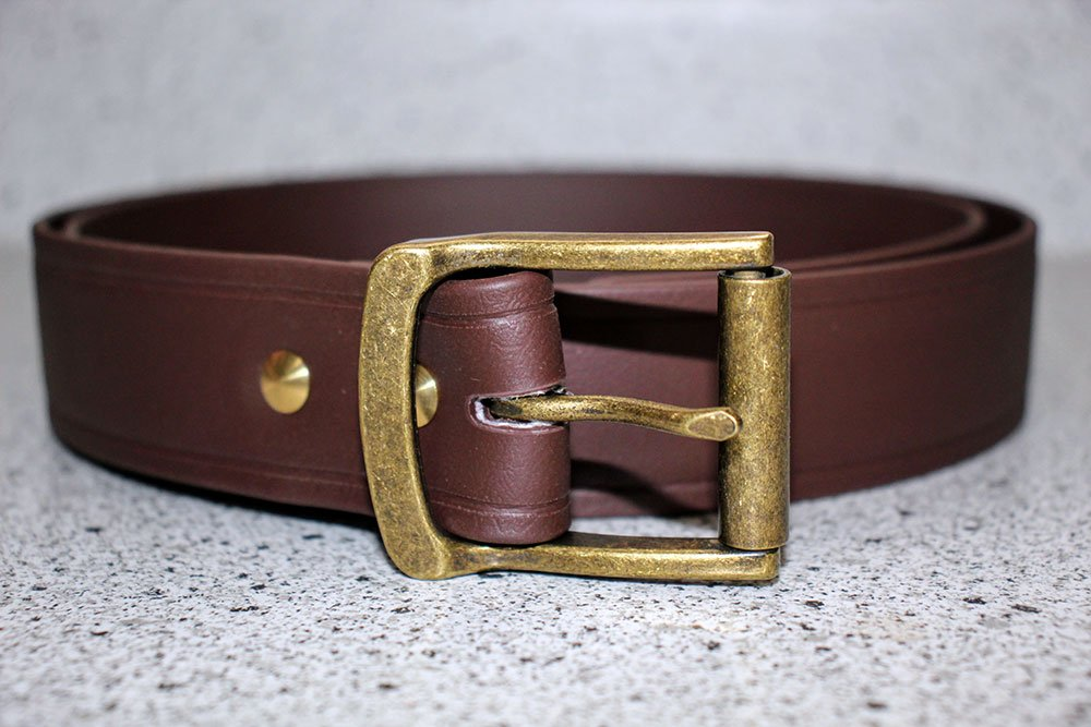 Brown Super Belt with Antique Brass Buckle 1.5 Inches Wide Strongest Men's Belt Last a Lifetime Made in America Stronger than Leather and Nylon