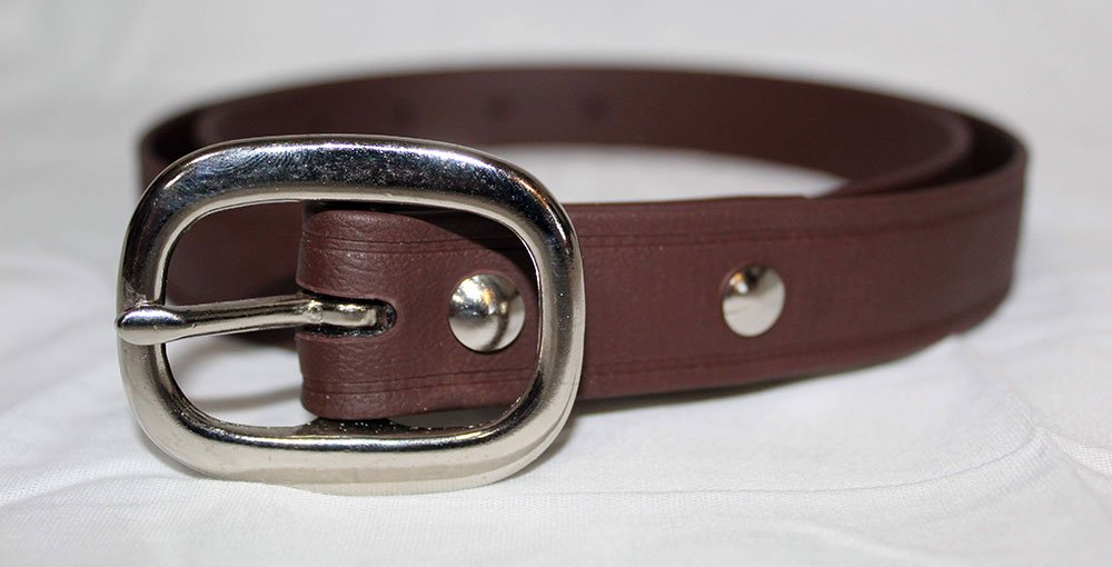 Brown Super Belt with Chromed Brass Silver Buckle 1 Inch Wide Strongest Men's Dress Belt for Suit Pants Last Forever Made in the USA Stronger than Leather and Nylon