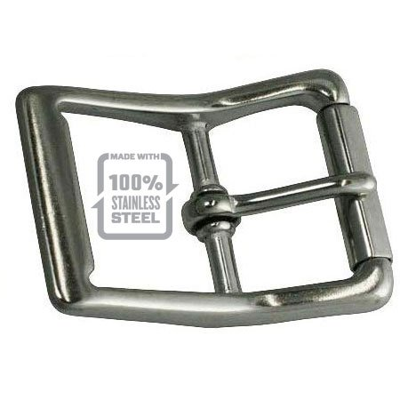 Solid Stainless Steel Double Bar Buckle Thick Industrial Strong No Patina Won't Rust The Invincible and Indestructible Mens Belt Belt that will Last a Lifetime square badge