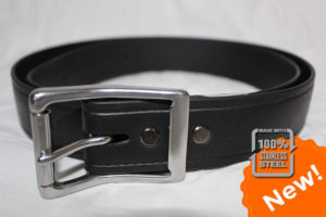 The Super Belt in Black with Beefy Stainless Steel Silver Buckle at 1.5 Inches width Indestructible Men's Belt that will Last You a Lifetime