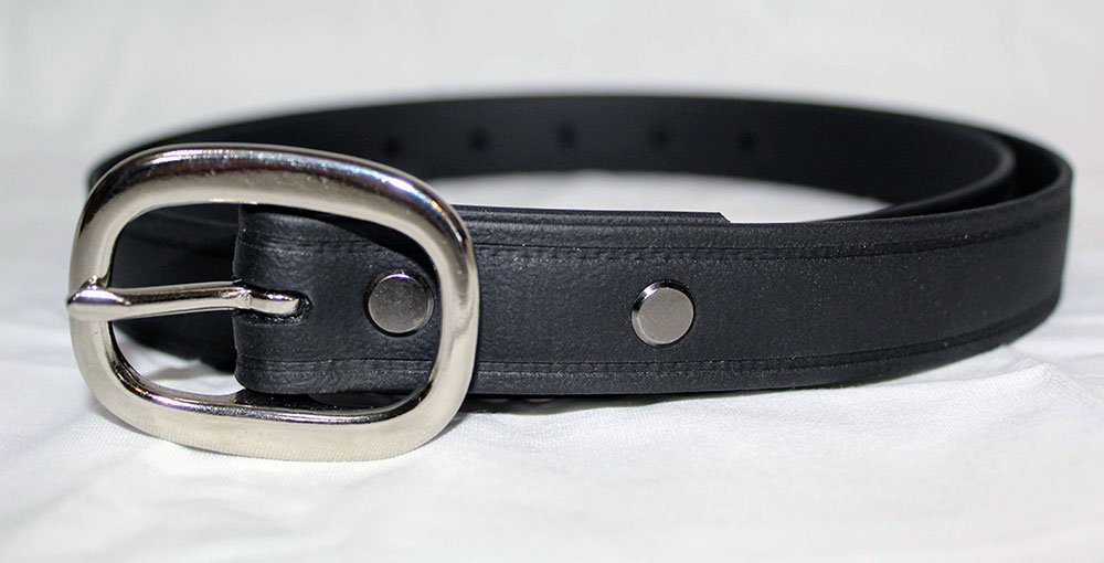 The Super Belt in Black with Chromed Brass Silver Buckle at One Inch Width Invincible Men's Dress Belt for Suit Pants or Khakis Will Last Forever Made in USA Better than Leather and Nylon