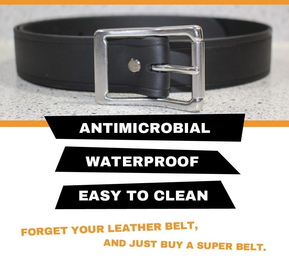 The Super Belt helps protect against COVID-19/Coronavirus by being Antimicrobial, Waterproof and Bleach/Lysol tolerant. Easy to Clean to Kill Germs. Leather & Nylon Belts are Gross!