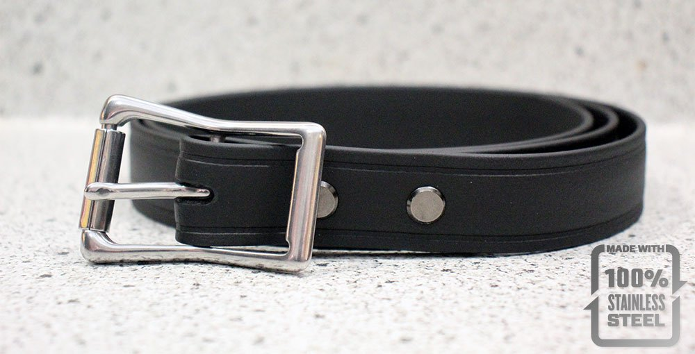 The Super Belt Black Silver Stainless Steel Roller Buckle Double Bar 1 inch wide strongest mans Dress Belt Suit Pants Last Forever Made in USA Stronger than Leather Nylon lifetime durable