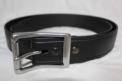 The Super Belt in Black with Beefy Stainless Steel Silver Buckle! Indestructible Men's Belt that will Last You a Lifetime! 100% Made in America! Stainless Steel is guaranteed to never Rust