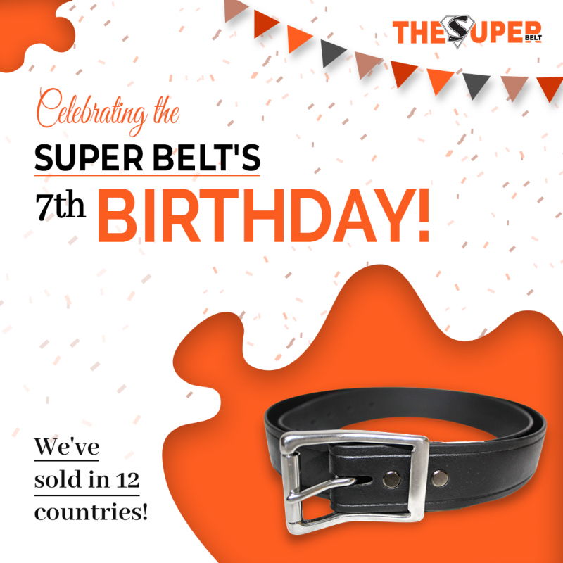 The Super Belt 7th Birthday Seven Years Making Strongest Mens Belt Made in America Unbreakable Wont Stretch Not Leather Nylon International
